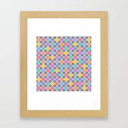 Rainbow & Gray Quatrefoil Framed Art Print