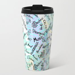 Colourful Music Categories Handwriting Travel Mug