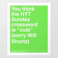Sorry Will Shortz Art Print