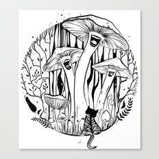 The Singing Mushrooms & The Zebra Cat Canvas Print