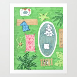 Green Tiled Bath drawing by Amanda Laurel Atkins Art Print