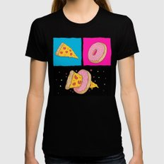 Pizza & Donut Womens Fitted Tee Black SMALL
