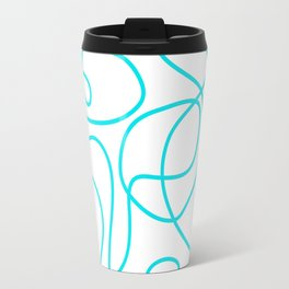 Doodle Line Art | Bright Blue/Turquoise Lines on White Background Travel Mug