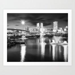 Tulsa Skyline Over Centennial Park Lake - Black and White Art Print