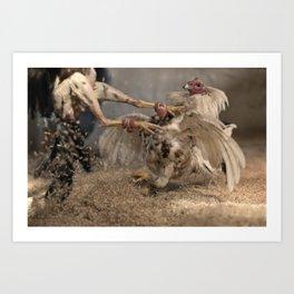 Cockfighting 3 Art Print