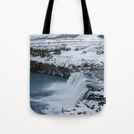 Waterfall in Icelandic highlands during winter with mountain - Landscape Photography Tote Bag