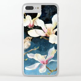 Night Music, Nightingale and Magnolias on Dark Sky, Stary Night Clear iPhone Case