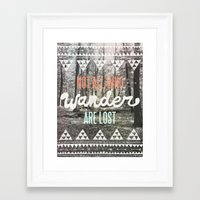 shapes Framed Art Prints featuring Wander by Wesley Bird