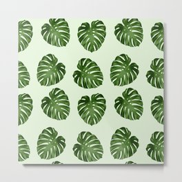 Palm Leaves, Leaf Pattern - Green  Metal Print