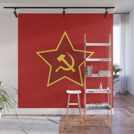 Red Star Hammer and Sickle Wall Mural