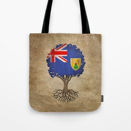 Vintage Tree of Life with Flag of Turks and Caicos Tote Bag
