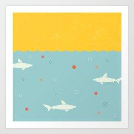 School of Sharks Art Print