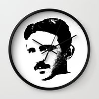 tesla Wall Clocks featuring Nikola Tesla by Mobii