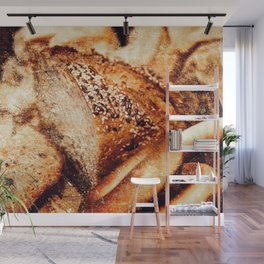 Still Life Of A Sliced Loaf Of Bread And Cracknels Wall Mural