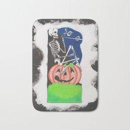 Smoking Skeleton on Jackolantern Pumpkin Beistle Style Bath Mat