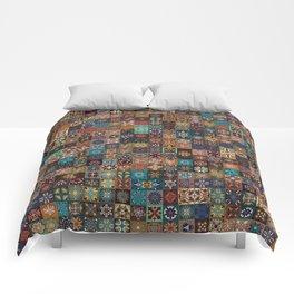 Vintage patchwork with floral mandala elements Comforters