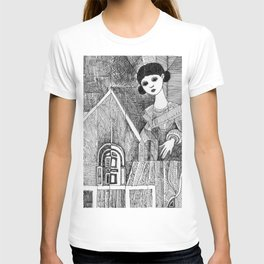 Girl on the top of her house. T-shirt
