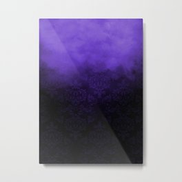 Purple Cloudy Damask Metal Print