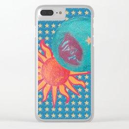 zakiaz sun moon stars Clear iPhone Case