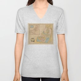 Land of Canaan (Holy Land) Map (1760) Unisex V-Neck