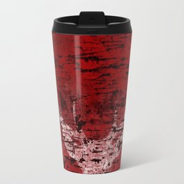 Industrial White Deer Silhouette on Red A313 Travel Mug