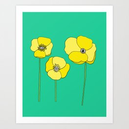 Bright Yellow and Mint Green Poppies Growing and Thriving Art Print