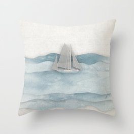 Floating Ship Throw Pillow