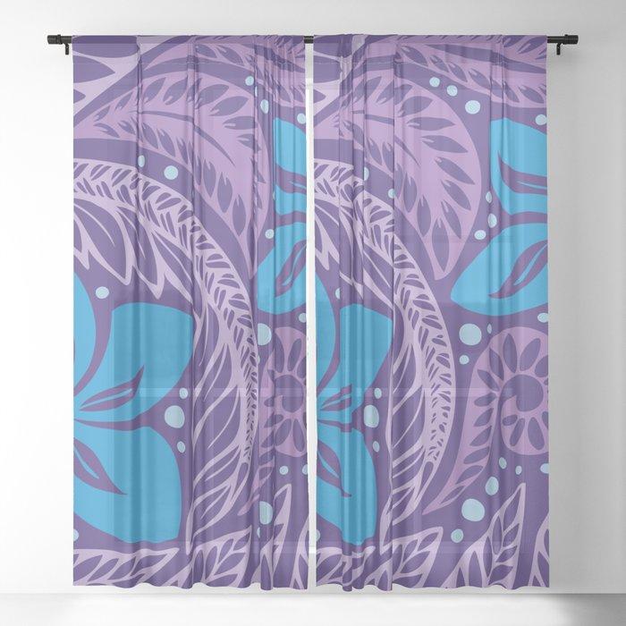 Circular Polynesian Hawaiian Blue Purple Floral Tattoo Sheer Curtain