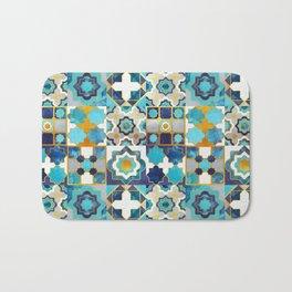 Spanish moroccan tiles inspiration // turquoise blue golden lines Bath Mat