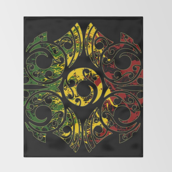 Rasta Colors on Maori Patterns Throw Blanket