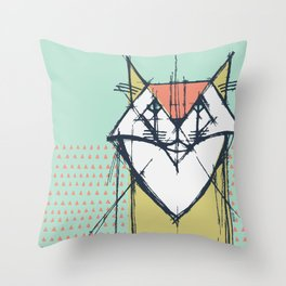 Cubist Cat Study #9 by Friztin Throw Pillow