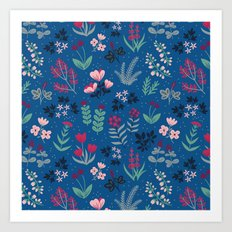 Blue Flower Garden Pattern Art Print