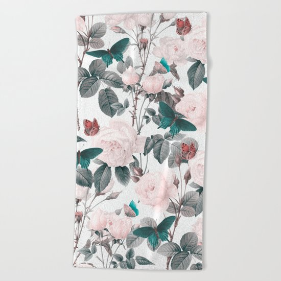 ROSES AND BUTTERFLIES Beach Towel