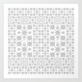 Simple Elegant Black and White Fractal Square Mandala Art Print