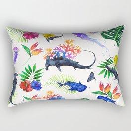 tropical shark pattern Rectangular Pillow