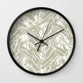 Jungle print with silhouette of paradise island foliage Wall Clock