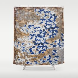 Peeling Blue Flowers Shower Curtain