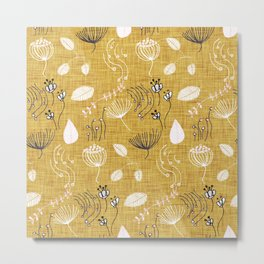 Winter Floral Gold Metal Print