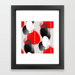 Modern Anxiety Abstract - Red, Black, Gray Framed Art Print