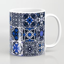 Blue Wonderful Traditional Moroccan Vintage Tiles Artwork (N26). Coffee Mug