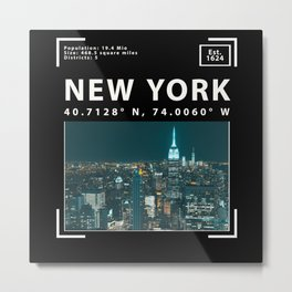New York City, Skyline and Facts Metal Print