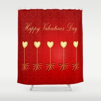valentines Shower Curtains featuring Happy Valentines Day Celebration by Wendy Townrow