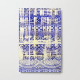 needlepoint sampler in blues Metal Print