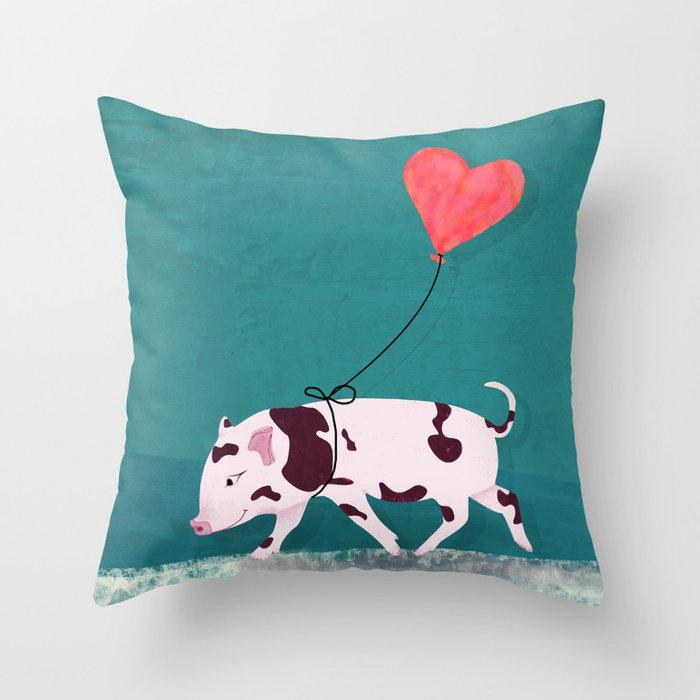 Baby Pig With Heart Balloon Deko-Kissen