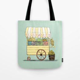 Veggie Cart on Mint Tote Bag