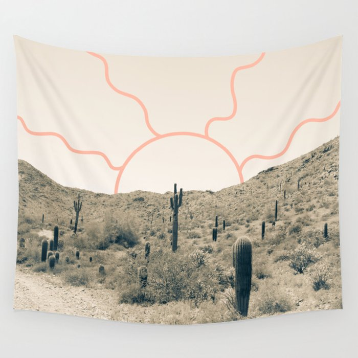 Wonder Rift // Abstract Vintage Mountains Summer Sun Surfer Beach Vibes Drawing Happy Wall Decor Wall Tapestry