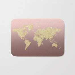 Gold Glitter on Rose Gold World Map Art Bath Mat