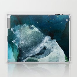 Untamed [2]: a vibrant minimal abstract design in blue gold and white by Alyssa Hamilton Art Laptop & iPad Skin