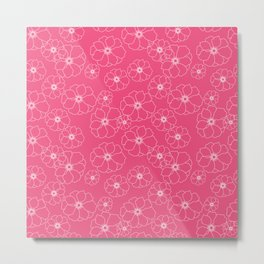Pink seamless Floral pattern Metal Print