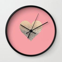 GOLD HEART CORAL Wall Clock